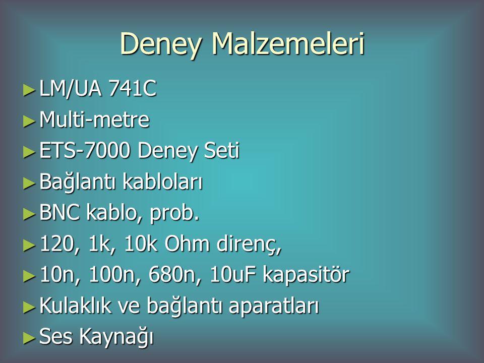 Deney Malzemeleri LM/UA 741C Multi-metre ETS-7000 Deney Seti
