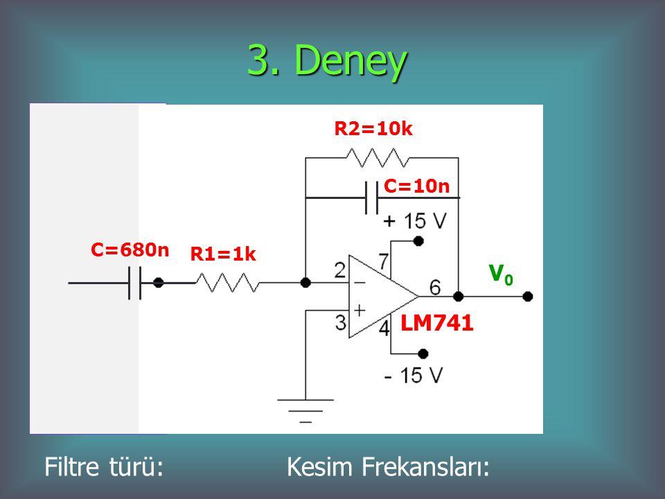 3. Deney R2=10k C=10n C=680n R1=1k Filtre türü: Kesim Frekansları: V0