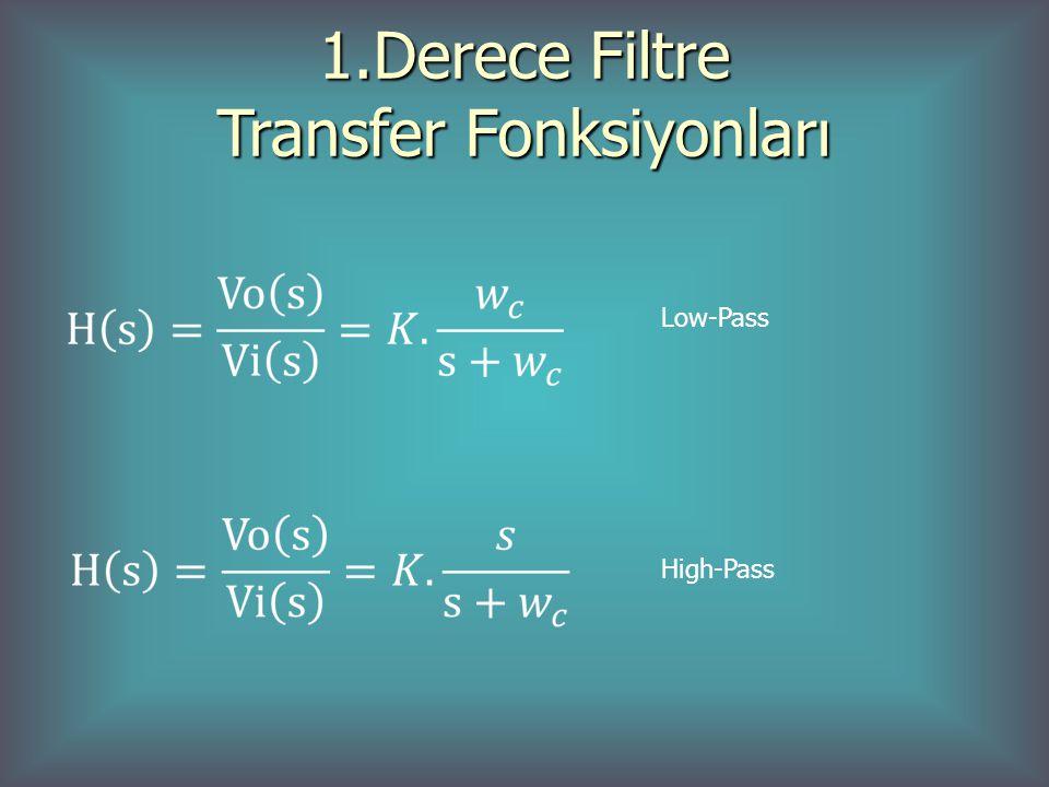 1.Derece Filtre Transfer Fonksiyonları