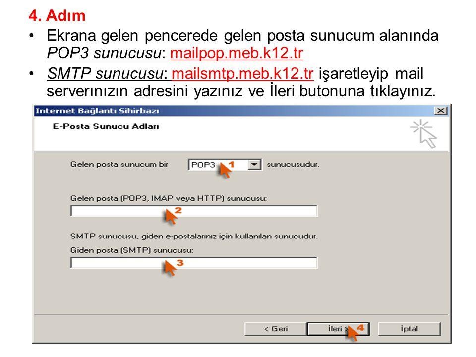 4. Adım Ekrana gelen pencerede gelen posta sunucum alanında POP3 sunucusu: mailpop.meb.k12.tr.