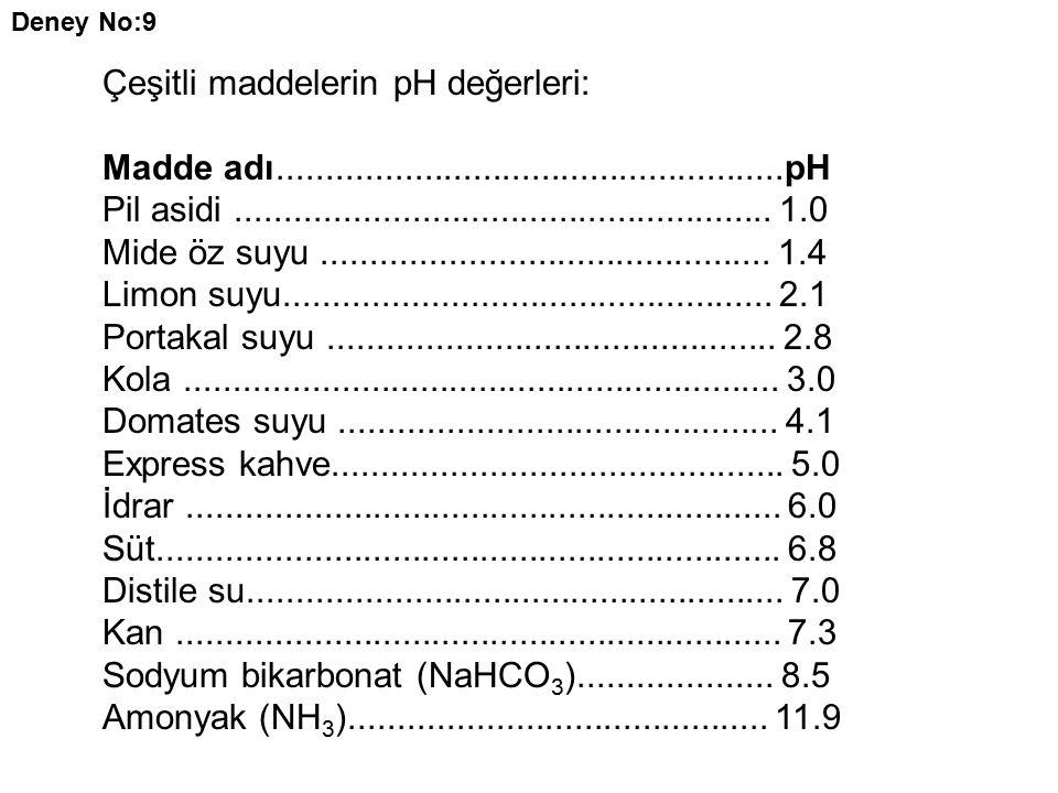 Çeşitli maddelerin pH değerleri: