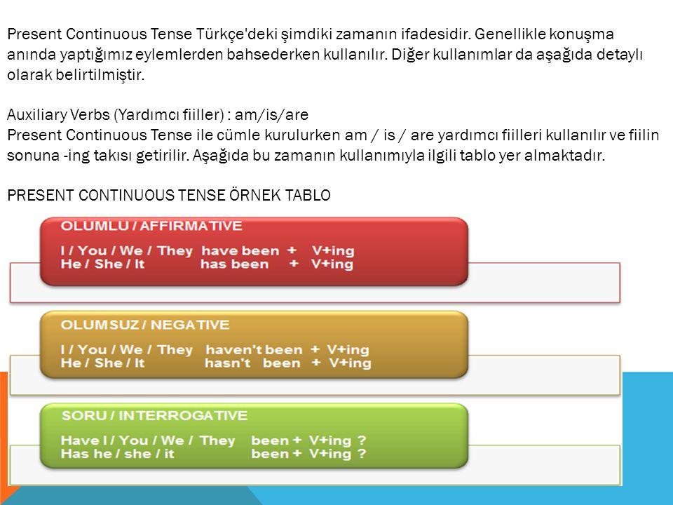Present Continuous Tense Türkçe deki şimdiki zamanın ifadesidir
