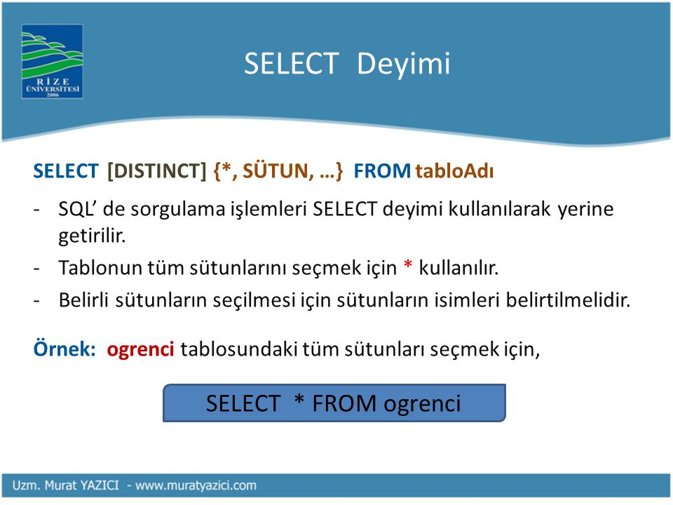 SELECT Deyimi SELECT * FROM ogrenci