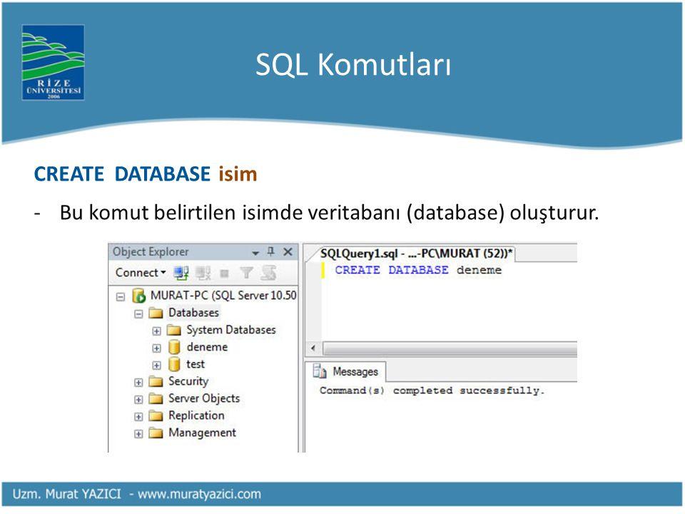 SQL Komutları CREATE DATABASE isim
