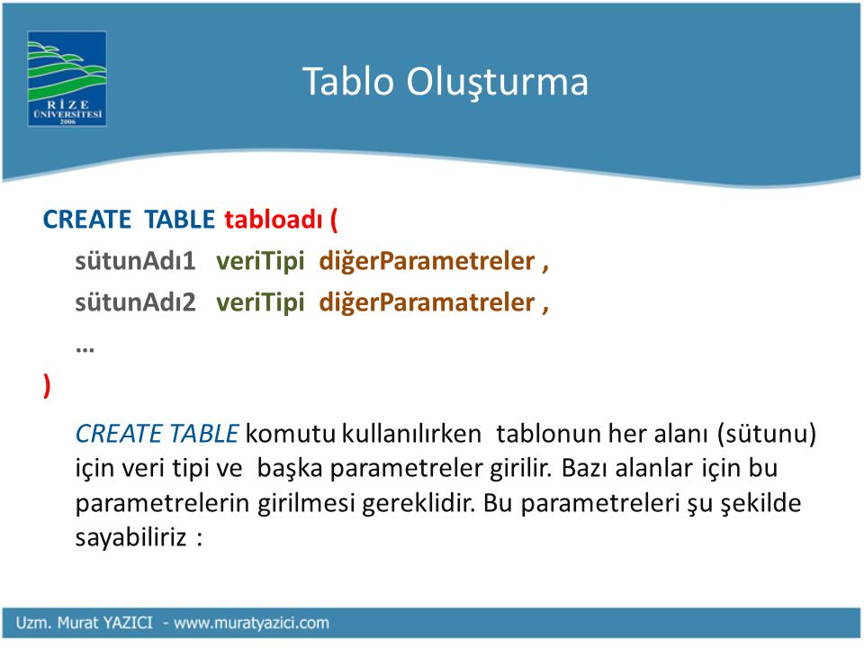 Tablo Oluşturma CREATE TABLE tabloadı (