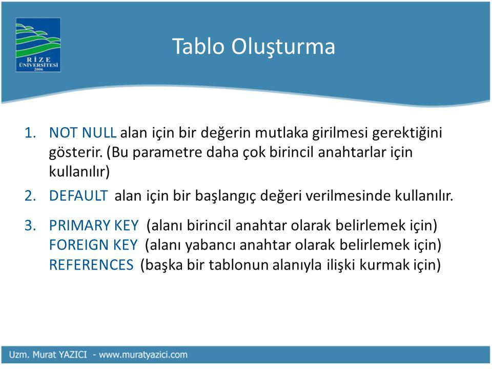 Tablo Oluşturma NOT NULL alan için bir değerin mutlaka girilmesi gerektiğini gösterir. (Bu parametre daha çok birincil anahtarlar için kullanılır)