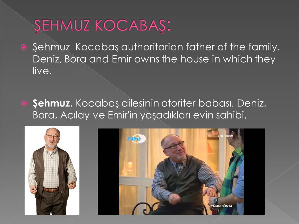 ŞEHMUZ KOCABAŞ: Şehmuz Kocabaş authoritarian father of the family. Deniz, Bora and Emir owns the house in which they live.