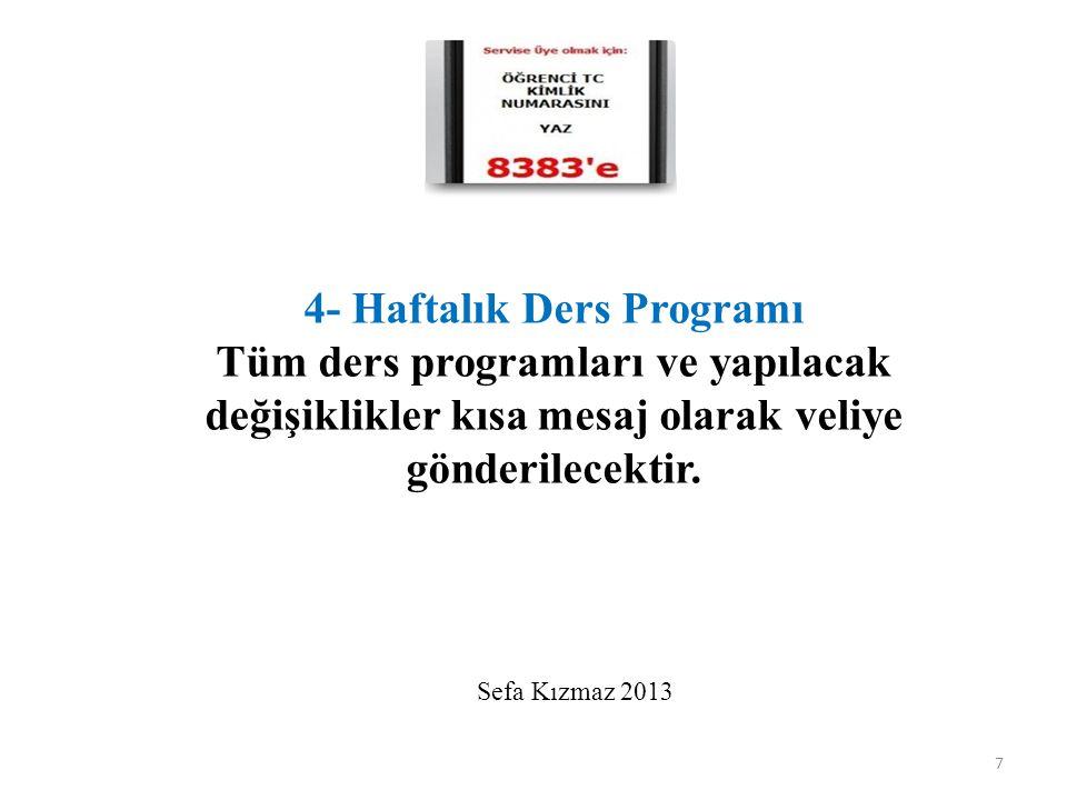 4- Haftalık Ders Programı