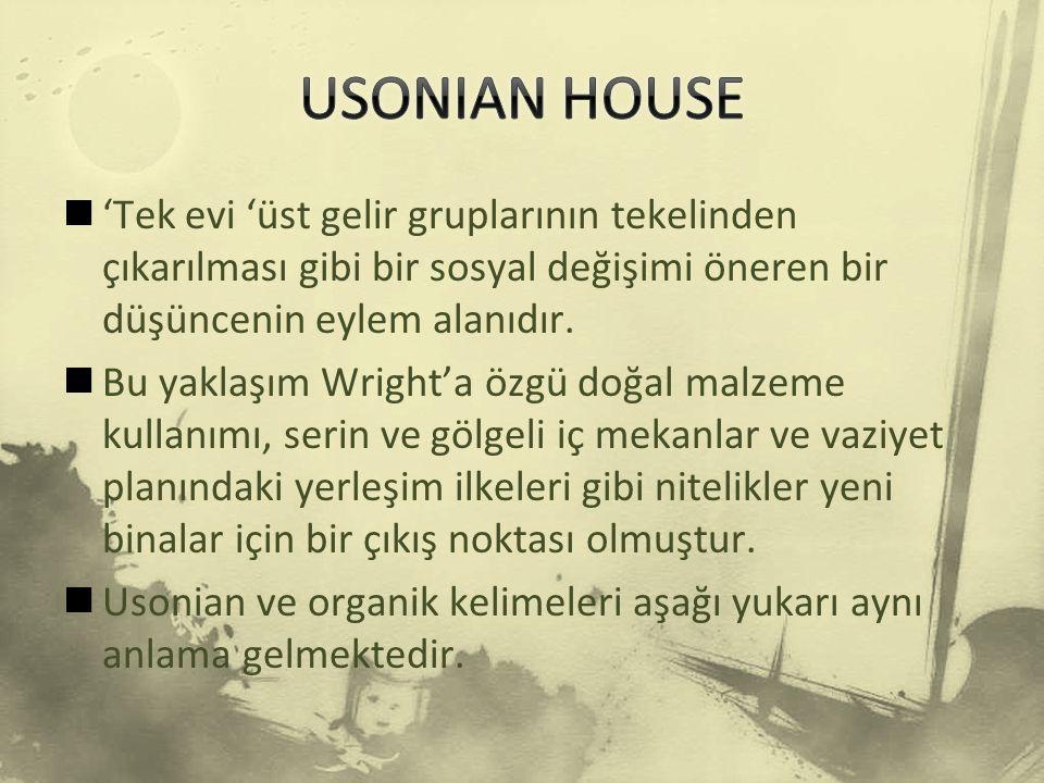 USONIAN HOUSE 'Tek evi 'üst gelir gruplarının tekelinden çıkarılması gibi bir sosyal değişimi öneren bir düşüncenin eylem alanıdır.