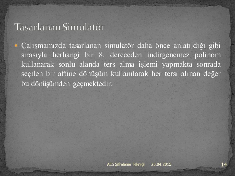 Tasarlanan Simulatör