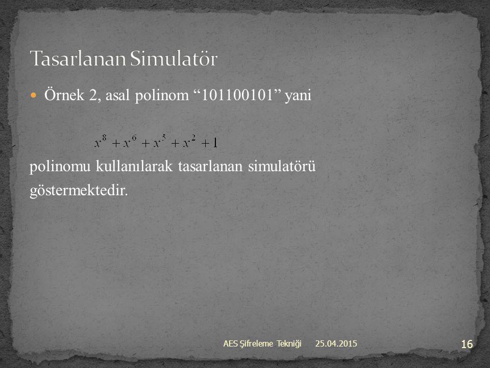 Tasarlanan Simulatör Örnek 2, asal polinom 101100101 yani