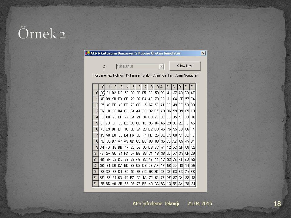 Örnek 2 AES Şifreleme Tekniği 14.04.2017
