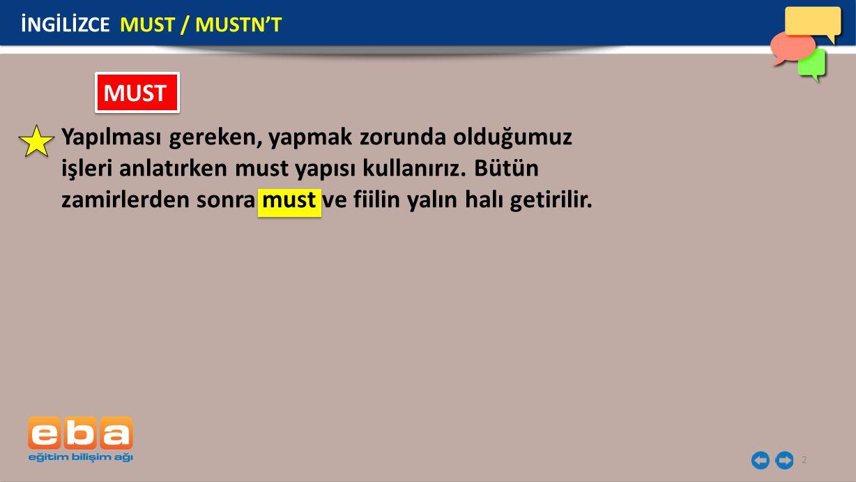 İNGİLİZCE MUST / MUSTN'T