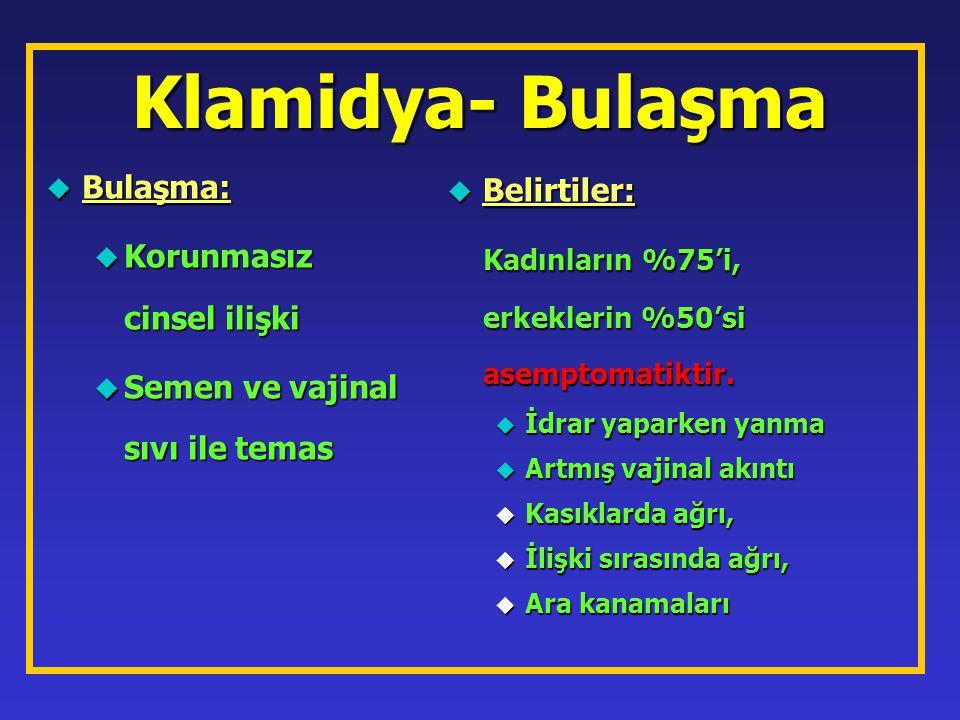 Klamidya- Bulaşma Bulaşma: Belirtiler: Korunmasız cinsel ilişki