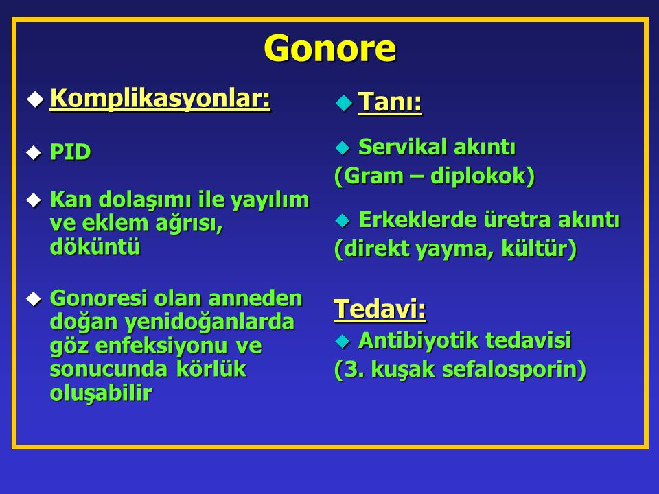 Gonore Komplikasyonlar: Tanı: Tedavi: Servikal akıntı PID