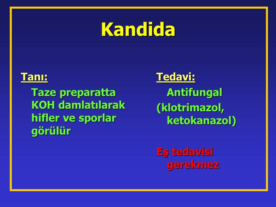 Kandida Tanı: Taze preparatta KOH damlatılarak hifler ve sporlar görülür. Tedavi: Antifungal. (klotrimazol, ketokanazol)