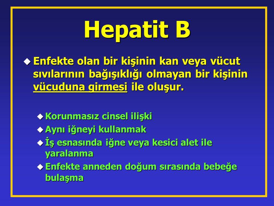Hepatit B Enfekte olan bir kişinin kan veya vücut sıvılarının bağışıklığı olmayan bir kişinin vücuduna girmesi ile oluşur.