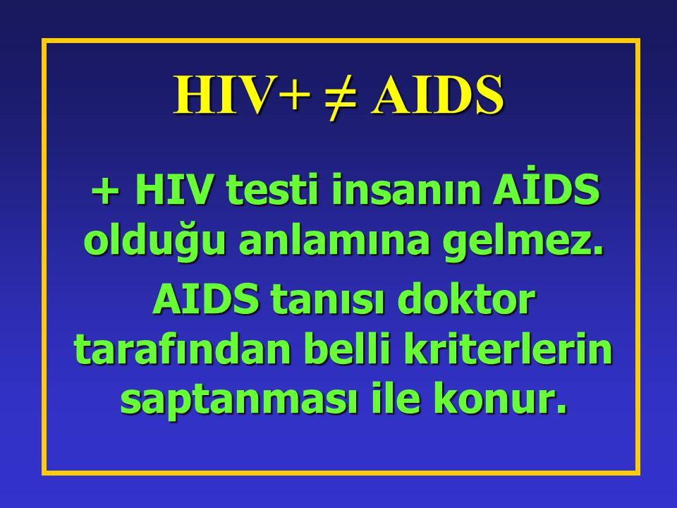 HIV+ ≠ AIDS + HIV testi insanın AİDS olduğu anlamına gelmez.
