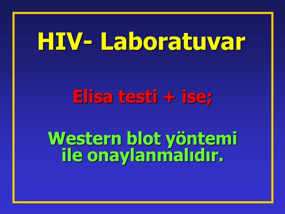 Elisa testi + ise; Western blot yöntemi ile onaylanmalıdır.
