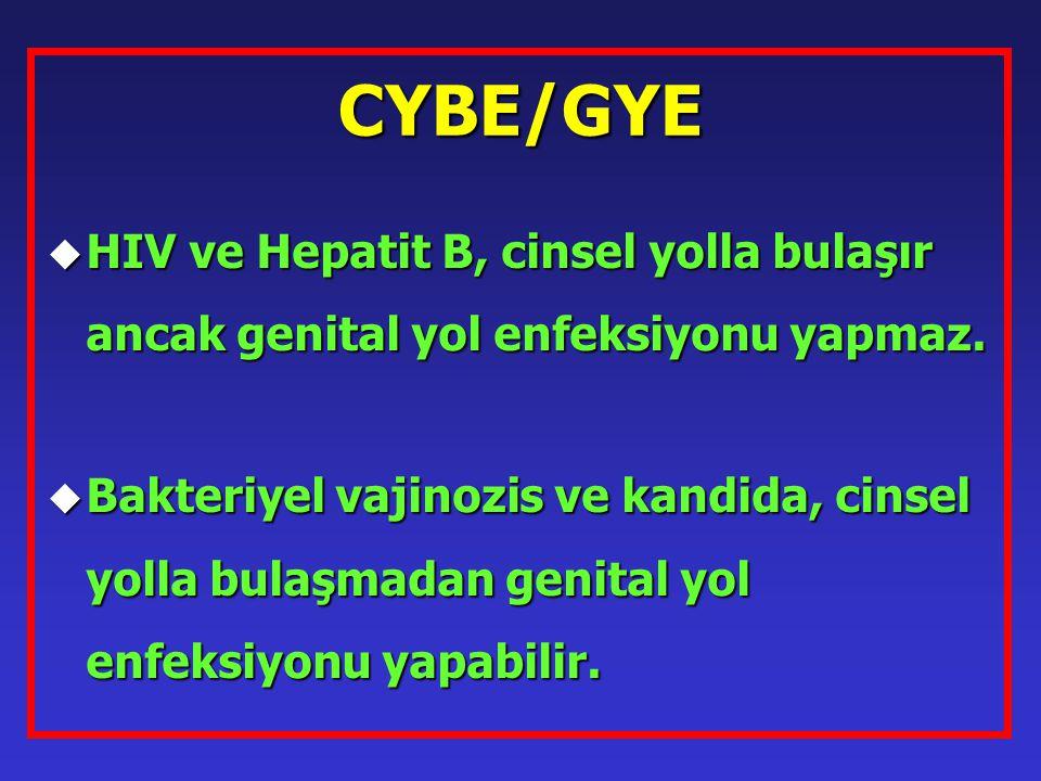 CYBE/GYE HIV ve Hepatit B, cinsel yolla bulaşır ancak genital yol enfeksiyonu yapmaz.