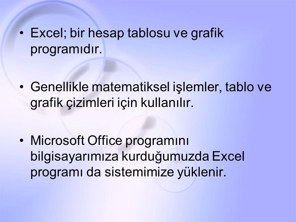 Excel; bir hesap tablosu ve grafik programıdır.
