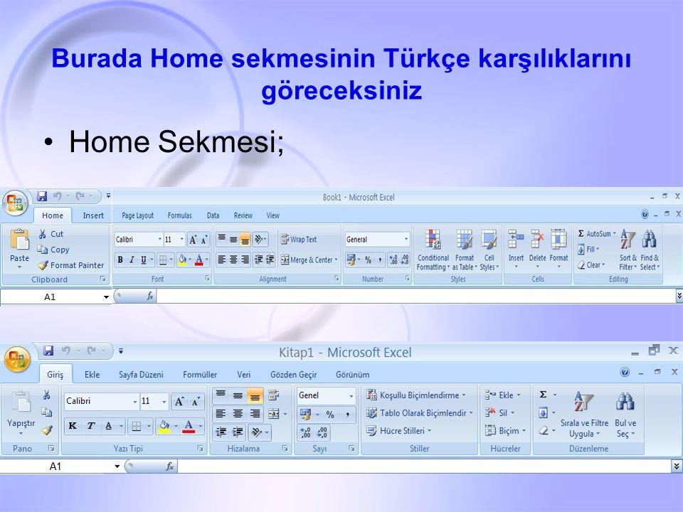 Burada Home sekmesinin Türkçe karşılıklarını göreceksiniz