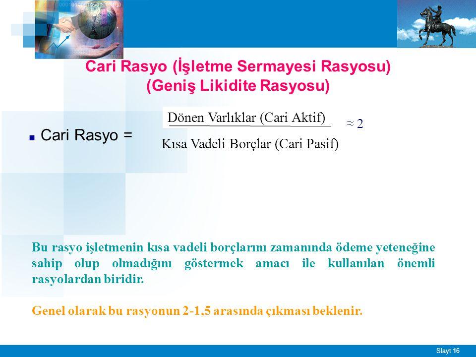 Sınırlı Likidite Rasyosu (Asit Rasyo)