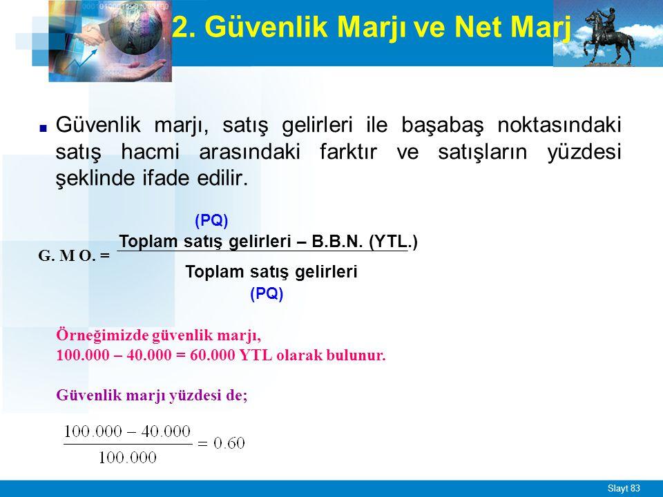 Net marj (katkı payı) ise, satış gelirlerinden, değişen giderler toplamı çıkarıldıktan sonra kalan miktardır.