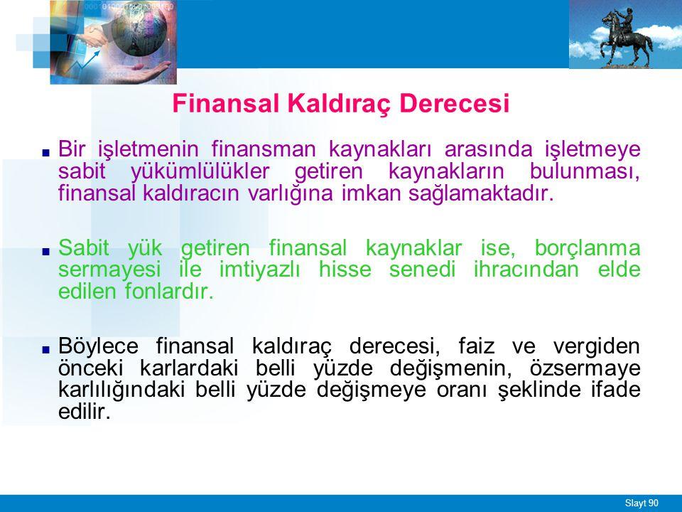 Finansal Kaldıraç Derecesi
