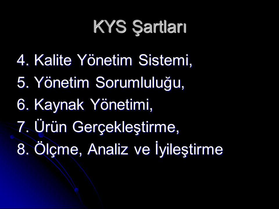 KYS Şartları 4. Kalite Yönetim Sistemi, 5. Yönetim Sorumluluğu,