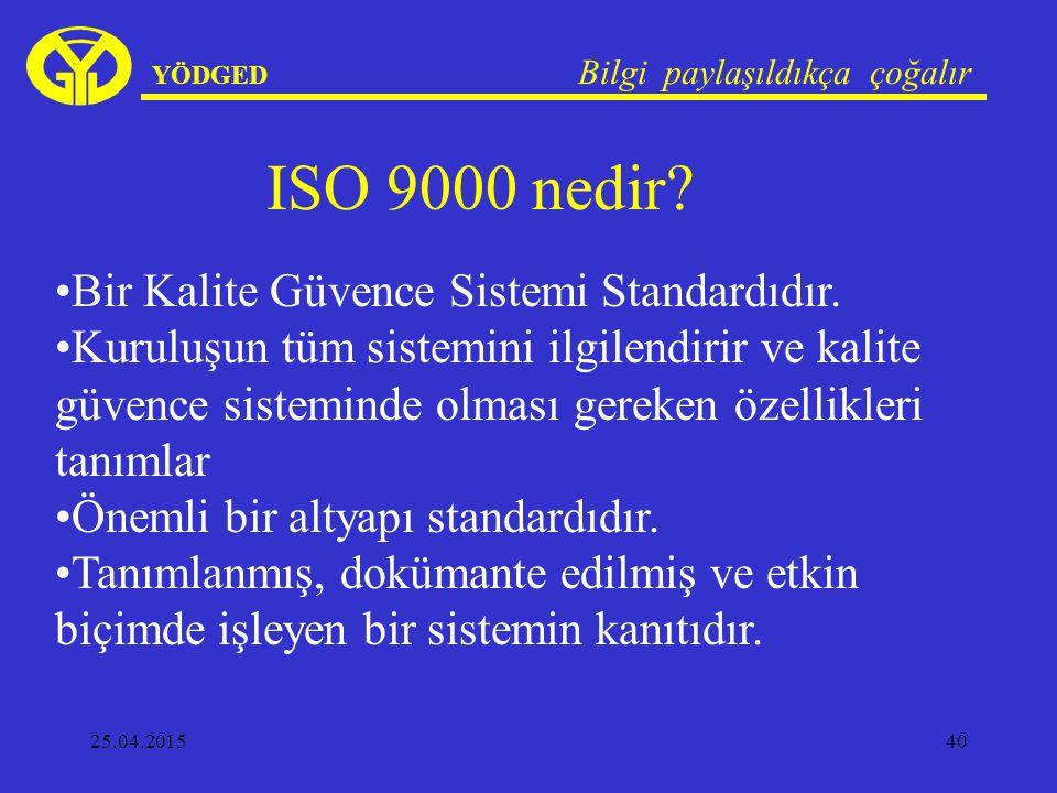 ISO 9000 nedir Bir Kalite Güvence Sistemi Standardıdır.