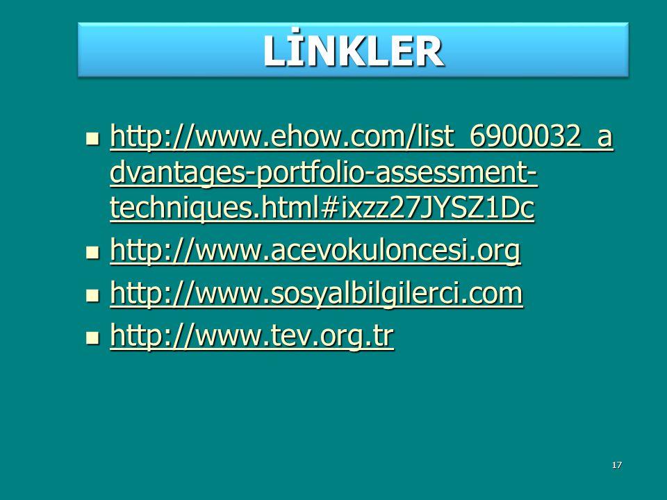 LİNKLER http://www.ehow.com/list_6900032_advantages-portfolio-assessment-techniques.html#ixzz27JYSZ1Dc.