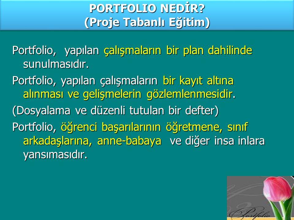 PORTFOLIO NEDİR (Proje Tabanlı Eğitim)