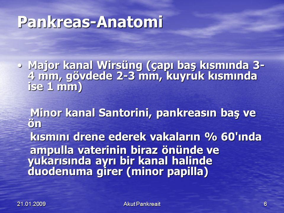 Pankreas-Anatomi • Major kanal Wirsüng (çapı baş kısmında 3-4 mm, gövdede 2-3 mm, kuyruk kısmında ise 1 mm)