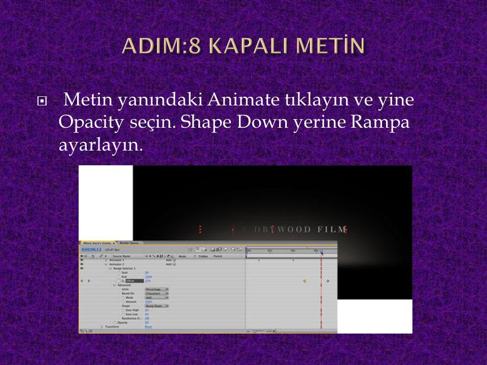 ADIM:8 KAPALI METİN Metin yanındaki Animate tıklayın ve yine Opacity seçin.