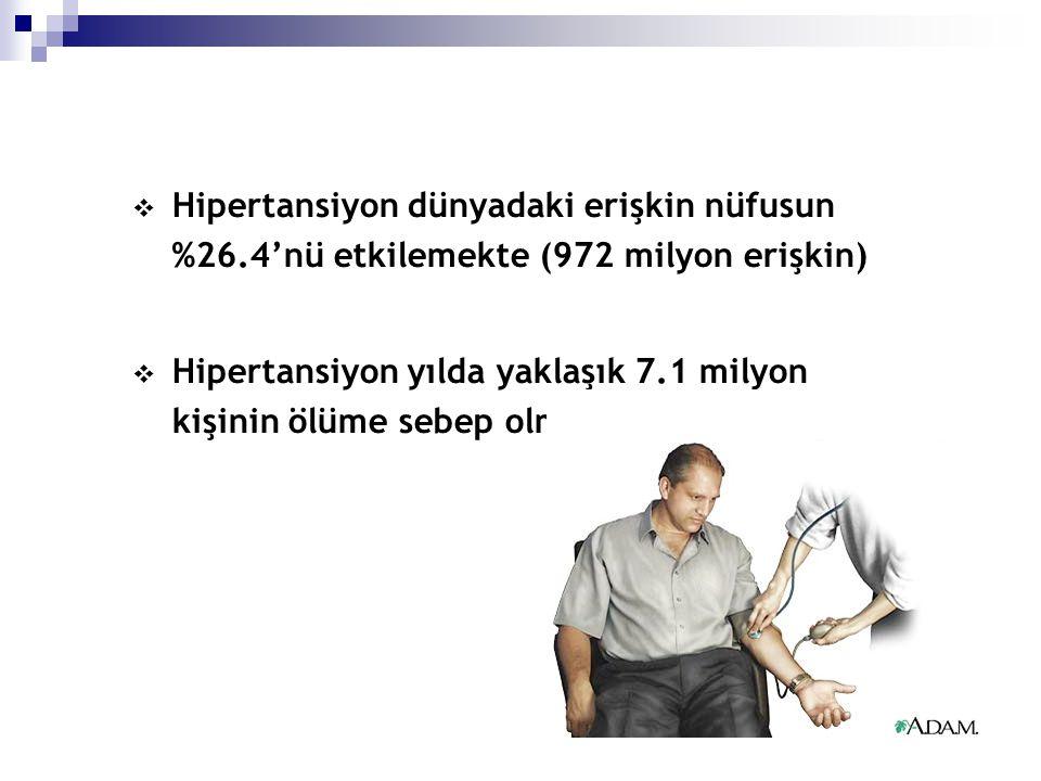 Hipertansiyon dünyadaki erişkin nüfusun %26
