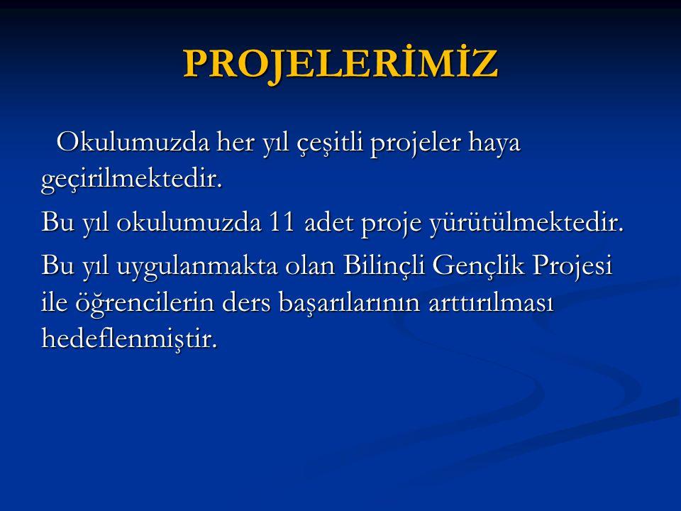 PROJELERİMİZ Okulumuzda her yıl çeşitli projeler haya geçirilmektedir.
