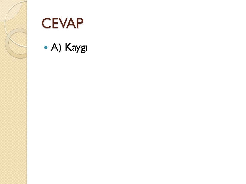 CEVAP A) Kaygı