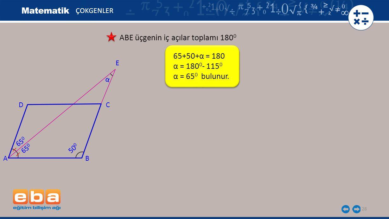 ABE üçgenin iç açılar toplamı 1800