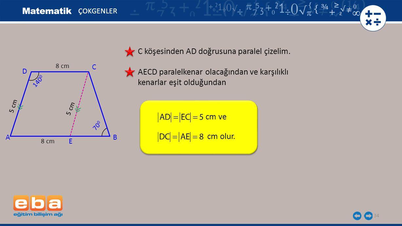 C köşesinden AD doğrusuna paralel çizelim.