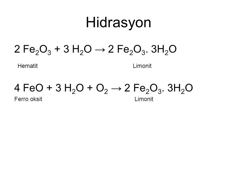 Hidrasyon 2 Fe2O3 + 3 H2O → 2 Fe2O3. 3H2O