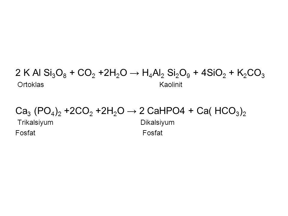 2 K Al Si3O8 + CO2 +2H2O → H4Al2 Si2O9 + 4SiO2 + K2CO3