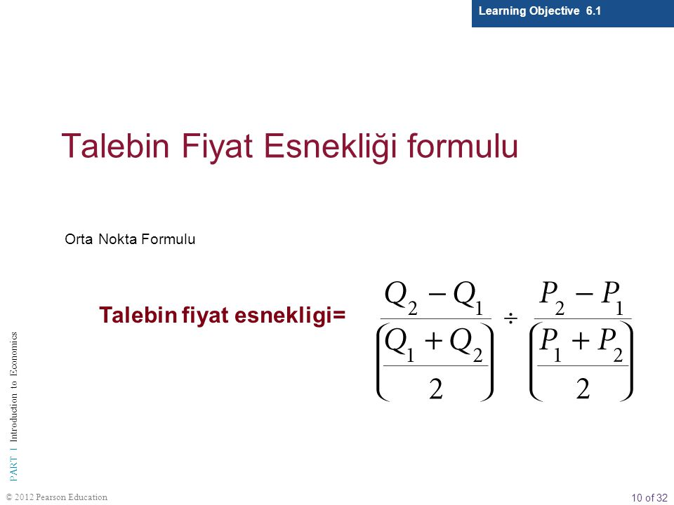 Talebin Fiyat Esnekliği formulu