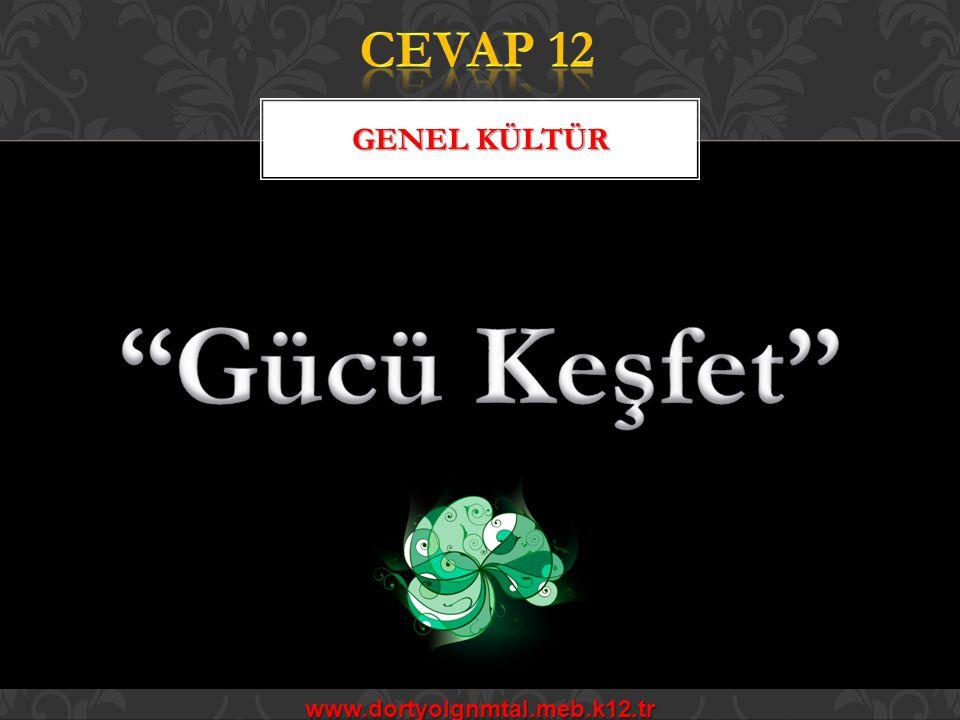 CEVAP 12 GENEL KÜLTÜR Gücü Keşfet www.dortyolgnmtal.meb.k12.tr