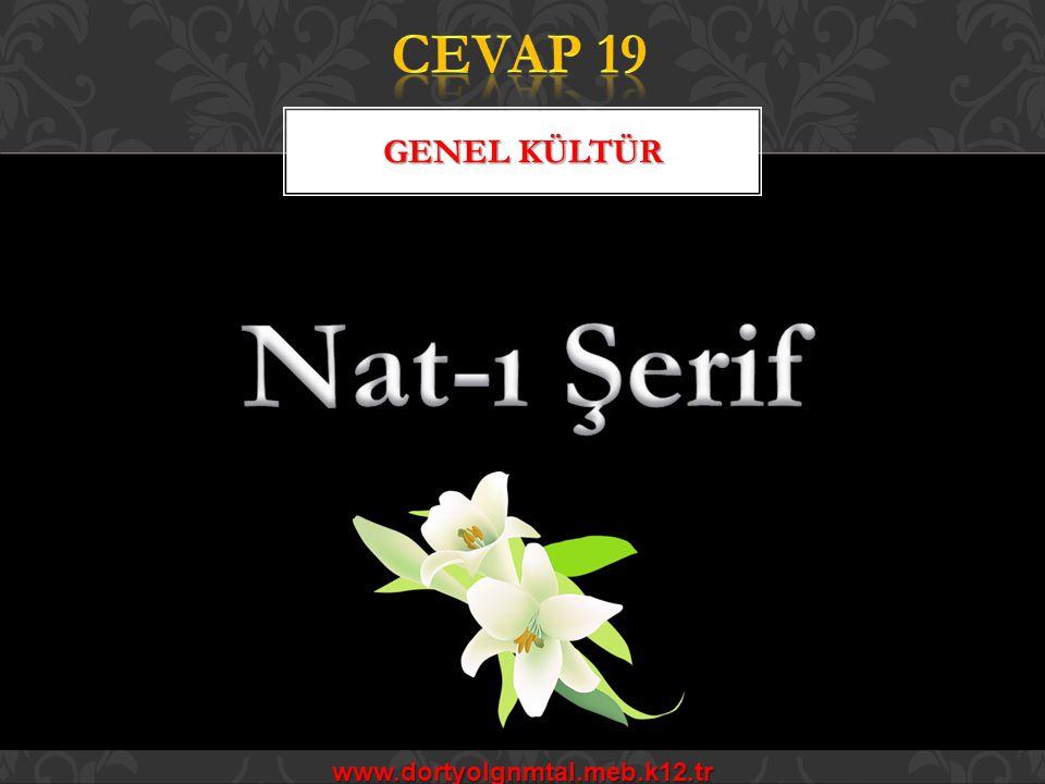 CEVAP 19 Genel kültür Nat-ı Şerif www.dortyolgnmtal.meb.k12.tr