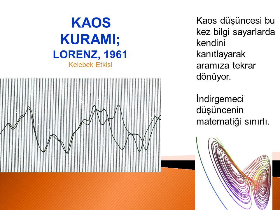 KAOS KURAMI; LORENZ, 1961 Kelebek Etkisi. Kaos düşüncesi bu kez bilgi sayarlarda kendini kanıtlayarak aramıza tekrar dönüyor.