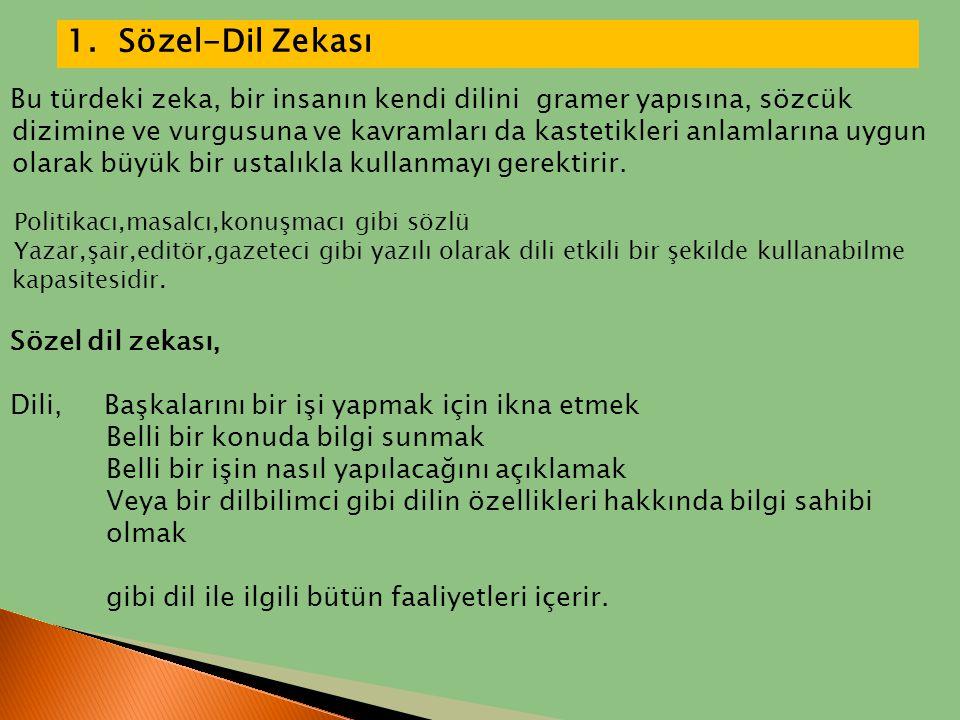 1. Sözel-Dil Zekası