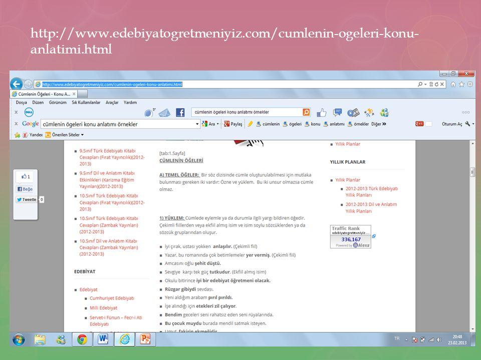 http://www. edebiyatogretmeniyiz. com/cumlenin-ogeleri-konu-anlatimi