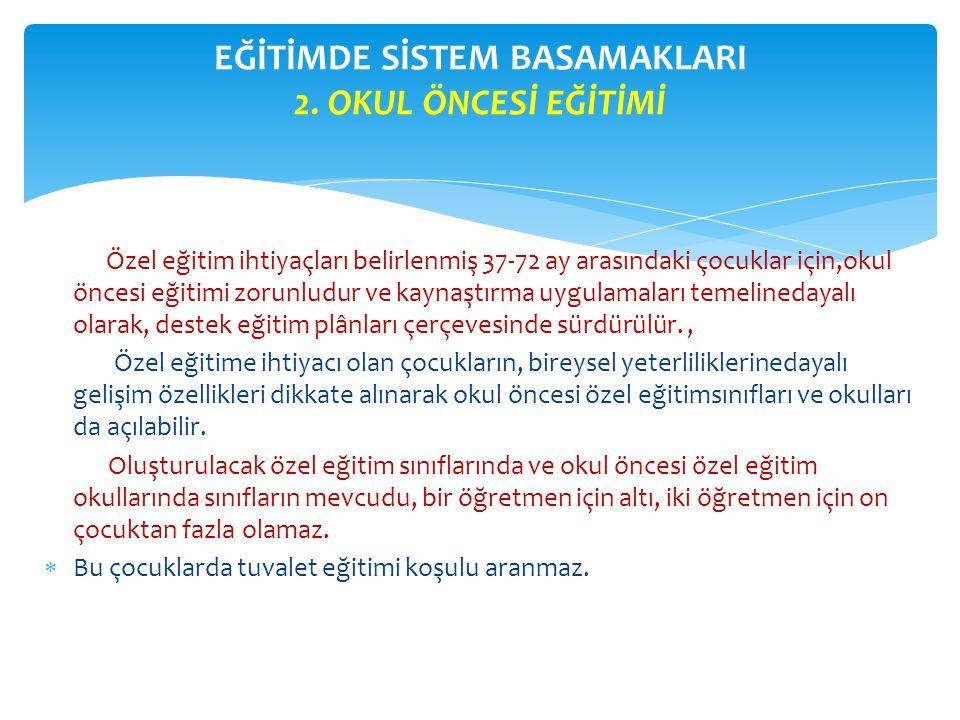 EĞİTİMDE SİSTEM BASAMAKLARI 2. OKUL ÖNCESİ EĞİTİMİ