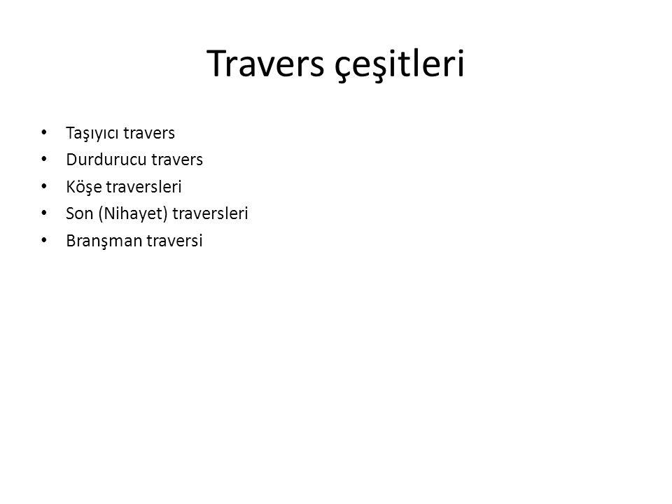 Travers çeşitleri Taşıyıcı travers Durdurucu travers Köşe traversleri